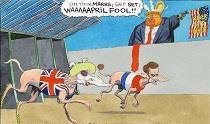 کاریکاتور همراهی انگلیس و فرانسه با آمریکا در حمله به سوریه